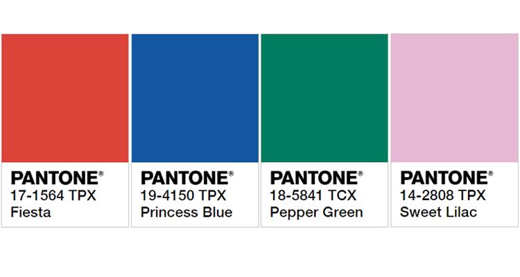 Quatro cores que a Pantone aponta como tendências para 2019