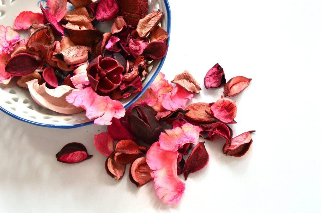 pot pourri flores e folhas secas